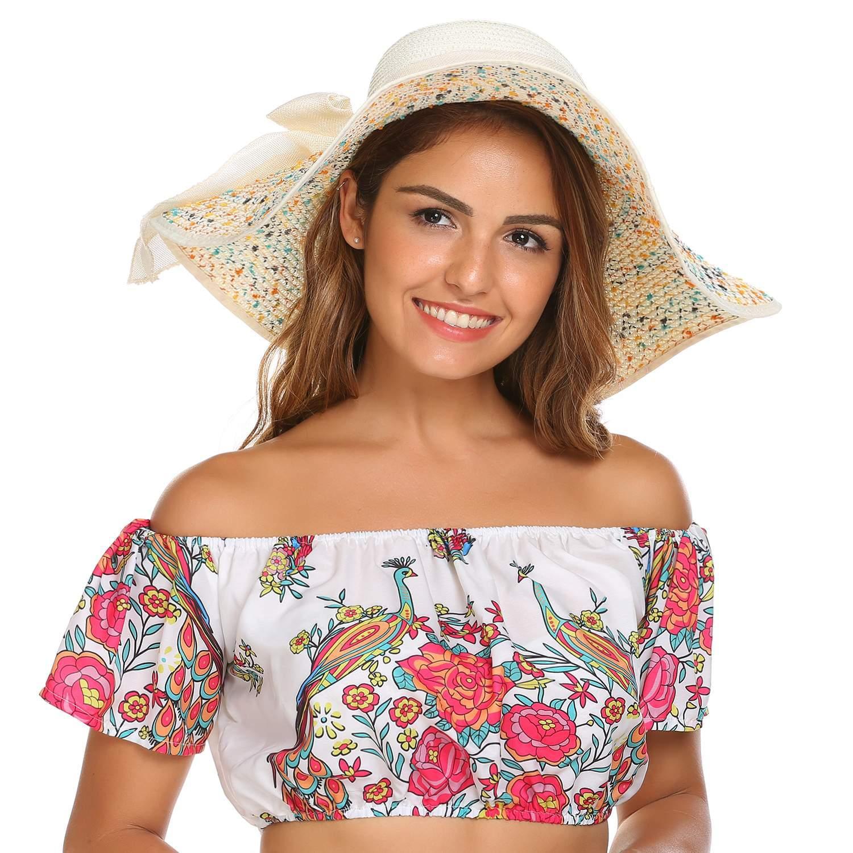 Women Big Bowknot Straw Hat Floppy Foldable Roll up Wide Brim Sun Hat Beach Cap HFON