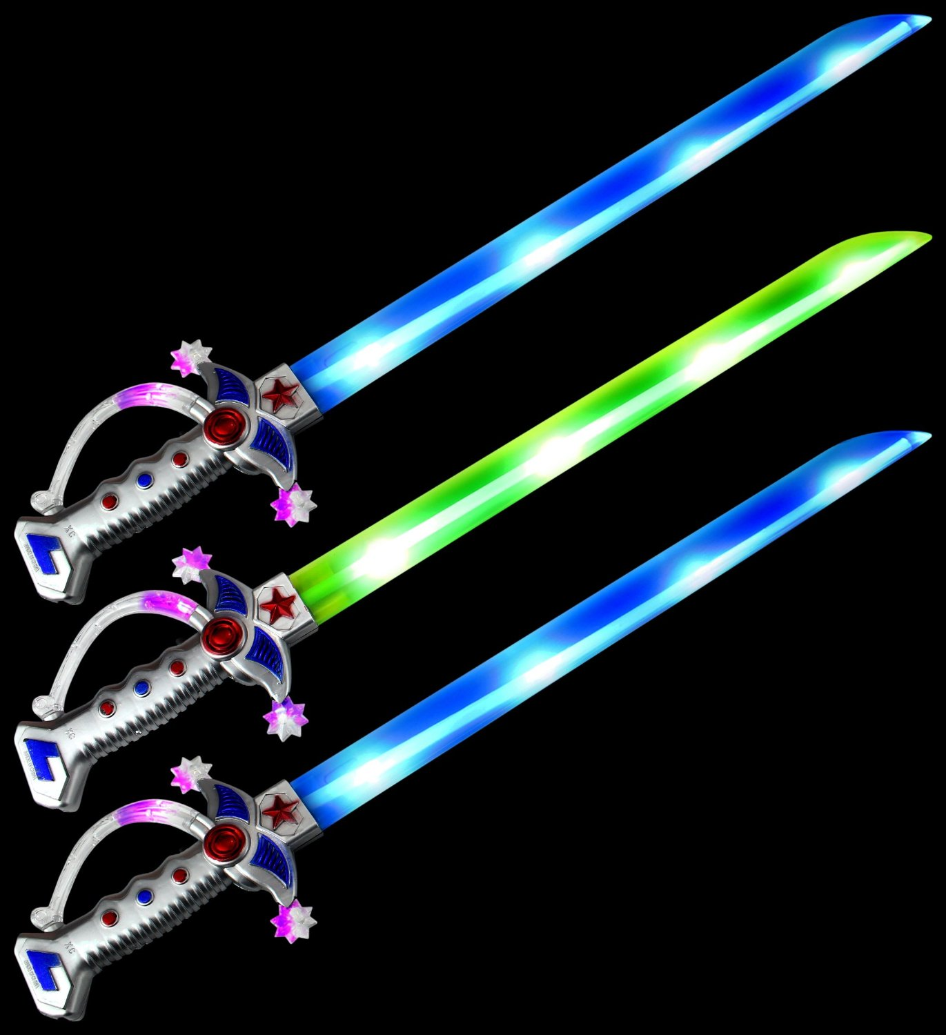 Set of 3 VT Astro Pirate Flashing LED Light Up & Sound Party Favor Toy Light Sword Sabers