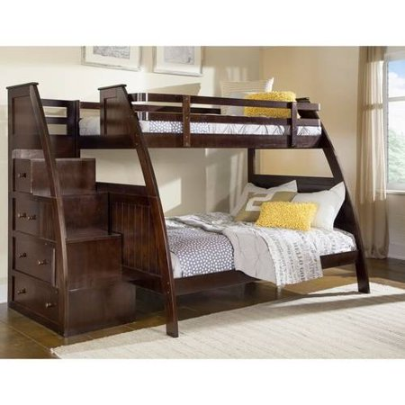 Better Homes And Gardens Kids Sebring Twin Over Full Bunk Bed With Storage Espresso Finish