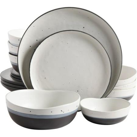 "Gibson Elite Rhinebeck 16 Piece Double Bowl Dinnerware Set, White/Black - 10.75"" Diameter Dinner Plate, 8.25"" Diameter Dessert Plate, 6.75"" Diameter Bowl, 4.75"" Diameter Fruit Bowl - Stoneware - Servi"