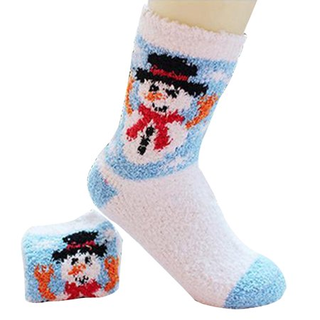 coxeer christmas socks cartoon print thickened fluffy winter warm socks crew socks fuzzy floor slipper socks - Walmart Christmas Socks