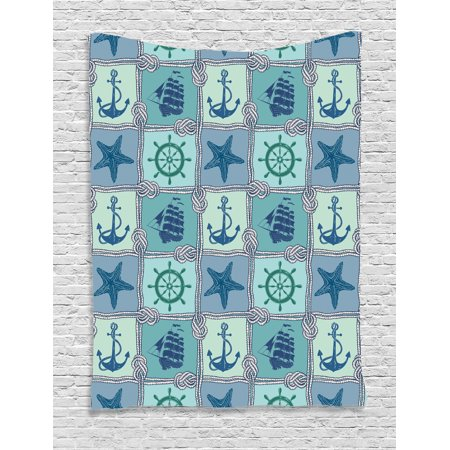 anchor tapestry wall hanging nautical patchwork pattern with ropes