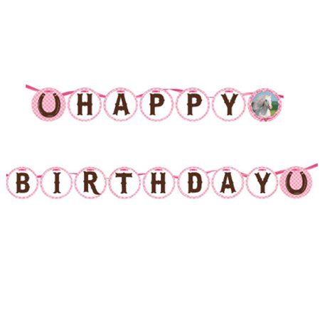 Heart My Horse Happy Birthday Ribbon Circle Banner (1 ct) - Horse Birthday