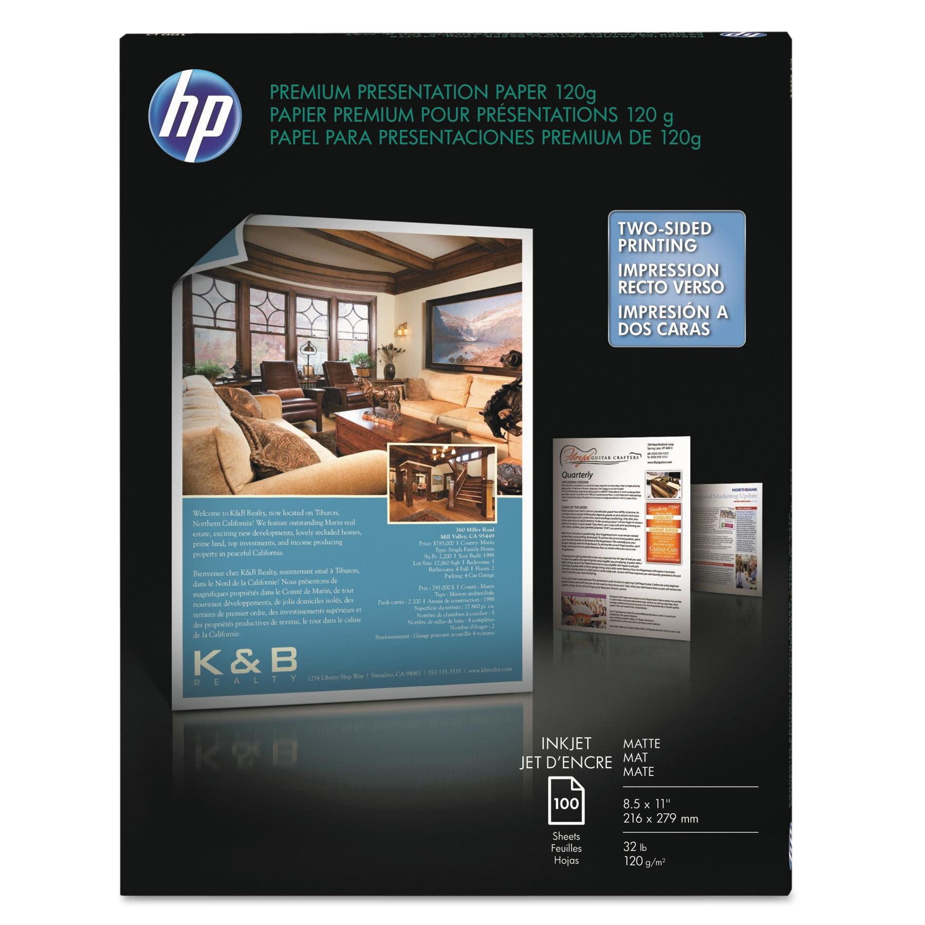 HP Premium Inkjet Matte Presentation Paper, 8-1/2 x 11, White, 100 Sheets/Pack -HEWD0Z55A