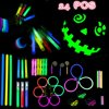 Glow Stick LED Light Value Pack Party Favor for Birthday, Party Supplies Includes Bracelets, Whistle, Earring, Teeth Braces, Ring, Shoes Tie Accessories Set 24 PCs