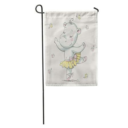 SIDONKU Cute Dancing Hippo Ballerina Cartoon Baby Girl Nursery Vintage Garden Flag Decorative Flag House Banner 28x40 inch](Fantasia Hippo Ballerina)