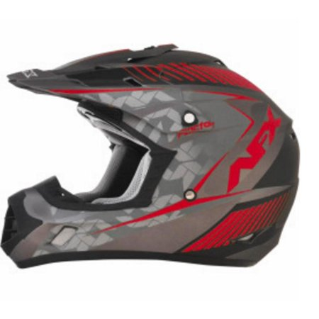 AFX FX-17 Factor Helmet Frost Gray/Red Matte Factor (Gray, X-Small)