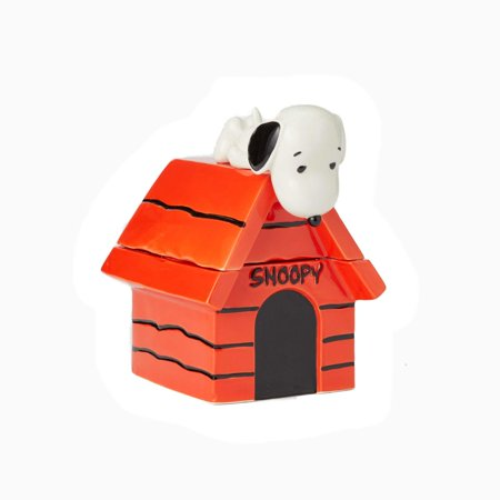 Enesco Peanuts Ceramics Snoopy on Top of House Cookie Jar New with Box ()