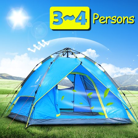 4 Persons Backpack Camping Tent,iClover Auto Pop Up Ultralight Tents [Double Layer] [Quick Setup] Hydraulic Rapid Self Instant Tents Dome Anti-UV Windproof [2 Doors]for Hiking Picnic