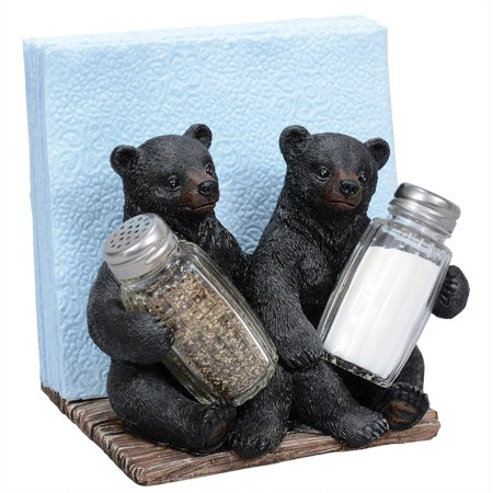 Bear Cubs Salt & Pepper Napkin Holder Set