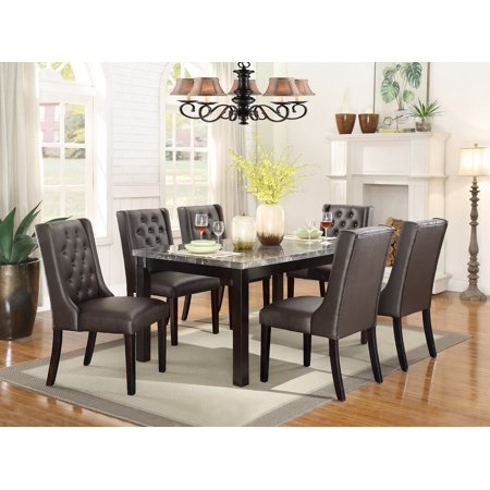 Miraculous Dining Room 7Pc Set Beautiful Real Marble Top Table Parson Style Chairs Tufted Cushion Espresso Faux Leather Furniture Creativecarmelina Interior Chair Design Creativecarmelinacom