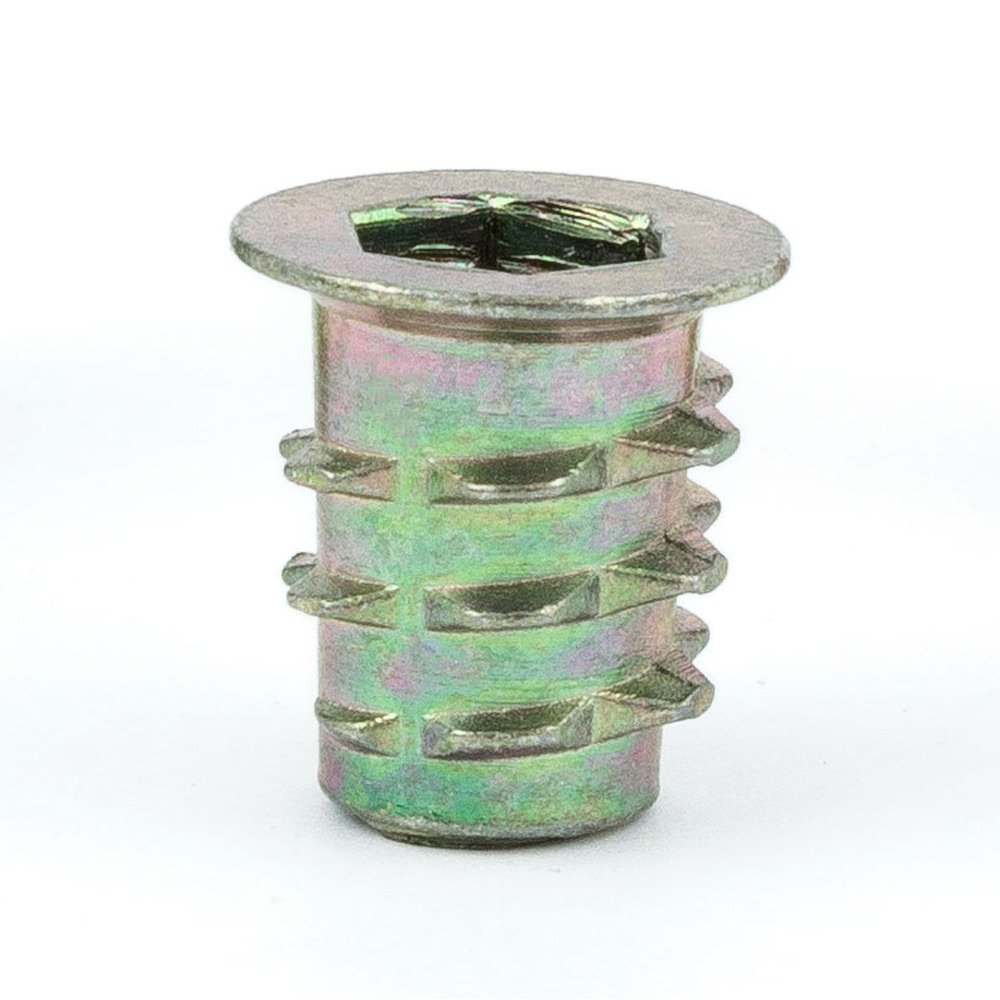 E-Z Hex™ - Threaded Insert for Soft Wood - Flanged - 10-24 x 10mm (Pack of 50)