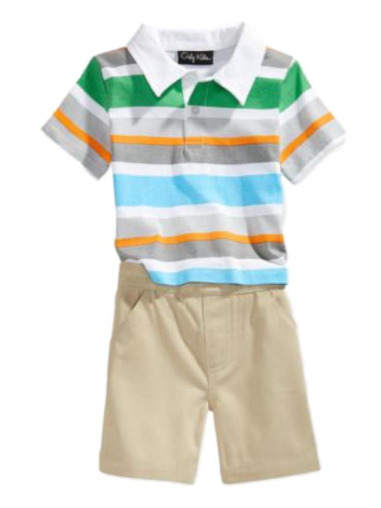 Only Kids Infant Boys 2 Piece Colorful Striped Polo T-Shirt & Khaki Shorts