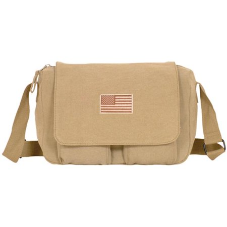 Retro Departure Shoulder Bag With Usa Emblem - Khaki - image 1 de 1