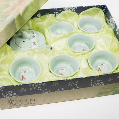 CoreLife Chinese Tea Set - Traditional Kung Fu Style Tea Pot and Cups Drinkware Set - Teal with Koi Fish Design (7 Piece Set) - Adult Tea Sets