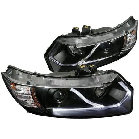 Spec-D Tuning For 2006-2011 Honda Civic Coupe 2Dr Halo Strip Led Projector Headlights Black Head Lamps 2006 2007 2008 2009 2010 2011 (Left+Right) 2008 Honda Pilot Headlight