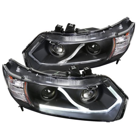 Spec-D Tuning For 2006-2011 Honda Civic Coupe 2Dr Halo Strip Led Projector Headlights Black Head Lamps 2006 2007 2008 2009 2010 2011 (2007 Honda Civic Ex 2 Door Coupe)