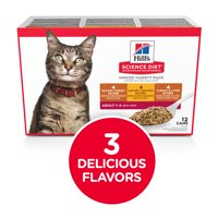 Hill's Science Diet Adult Canned Cat Food Variety Pack, Savory Entrée Turkey & Liver, Chicken, and Turkey, 5.5 oz, 12 Pack wet cat food
