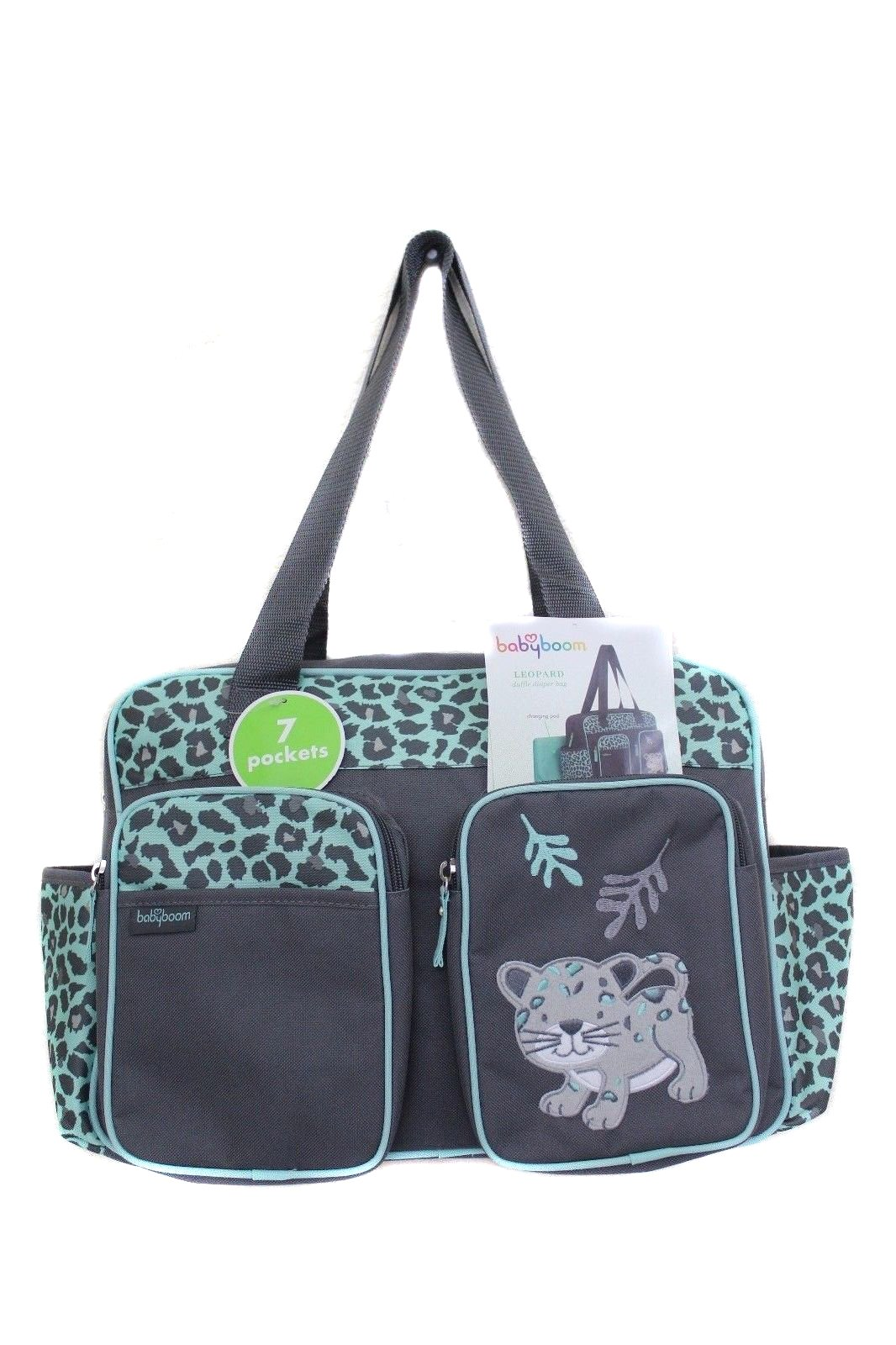 Baby Boom Little Leopard Mint Green Diaper Bag - by Fourever Funky
