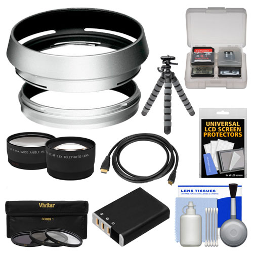 Bower AR-X100 Adapter Ring & Hood for Fuji X100/X100S/X100T Camera (49mm) with NP-95 Battery   Tripod   HDMI Cable   Telephoto/Wide-Angle Lenses   3 UV/CPL/ND8 Filter Kit