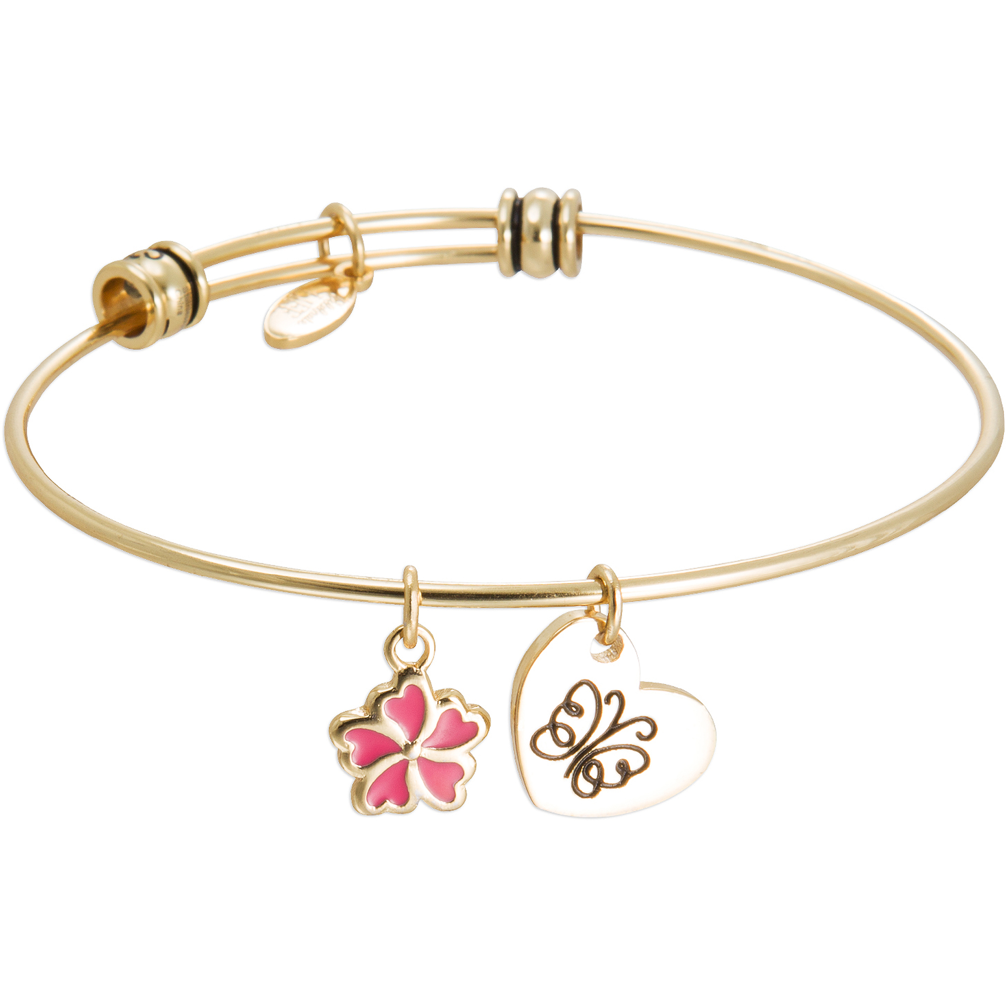 "Connections from Hallmark Stainless Steel Yellow-Tone ""Sisters"" and Flower Multi-Charm Wire Bangle, 7.75"
