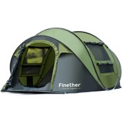 Finether 5-Person Pop Up Tent Outdoor Ultralight Waterproof Family Tent All Season Camping Shelter with Carrying Bag for Camping Hiking Traveling Park Beach