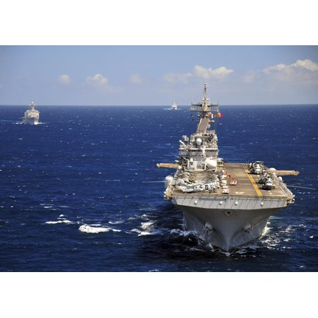 (USS Boxer leads a convoy of ships in the Indian Ocean Canvas Art - Stocktrek Images (33 x 24))