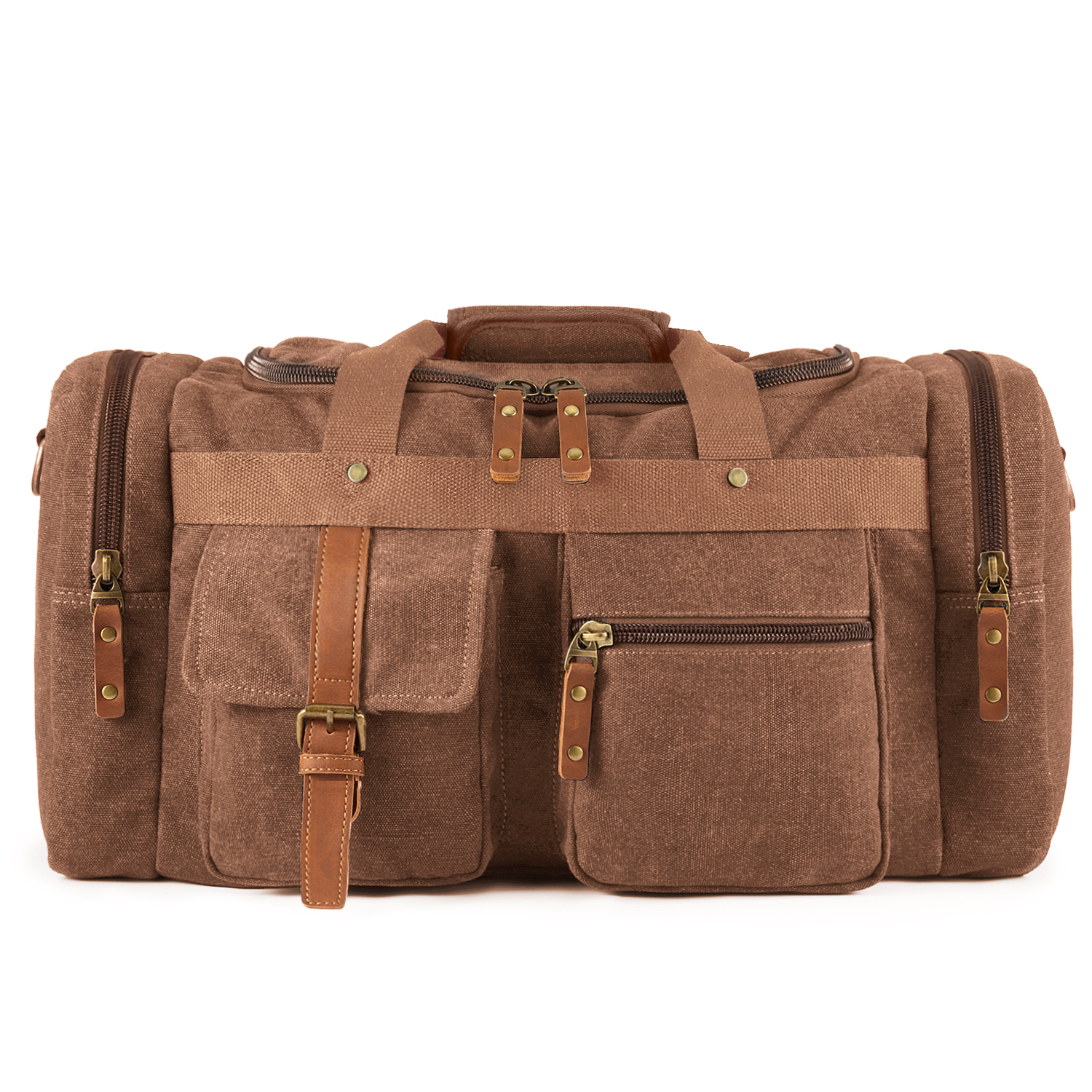 Plambag Oversized Canvas Duffel Bag Travel Weekend Tote Shoulder Bag