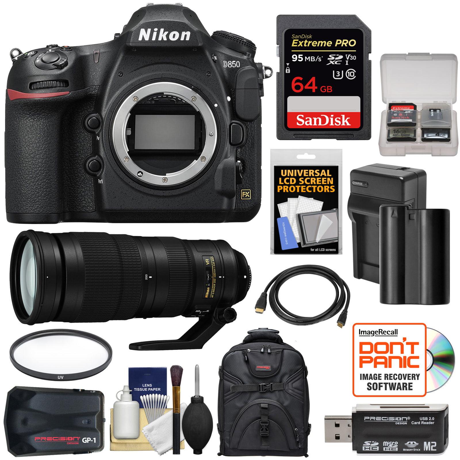 Nikon D850 Wi-Fi 4K Digital SLR Camera Body with 200-500mm f/5 6E VR Lens +  64GB Card + Battery + Charger + Backpack + GPS + Filter + Kit