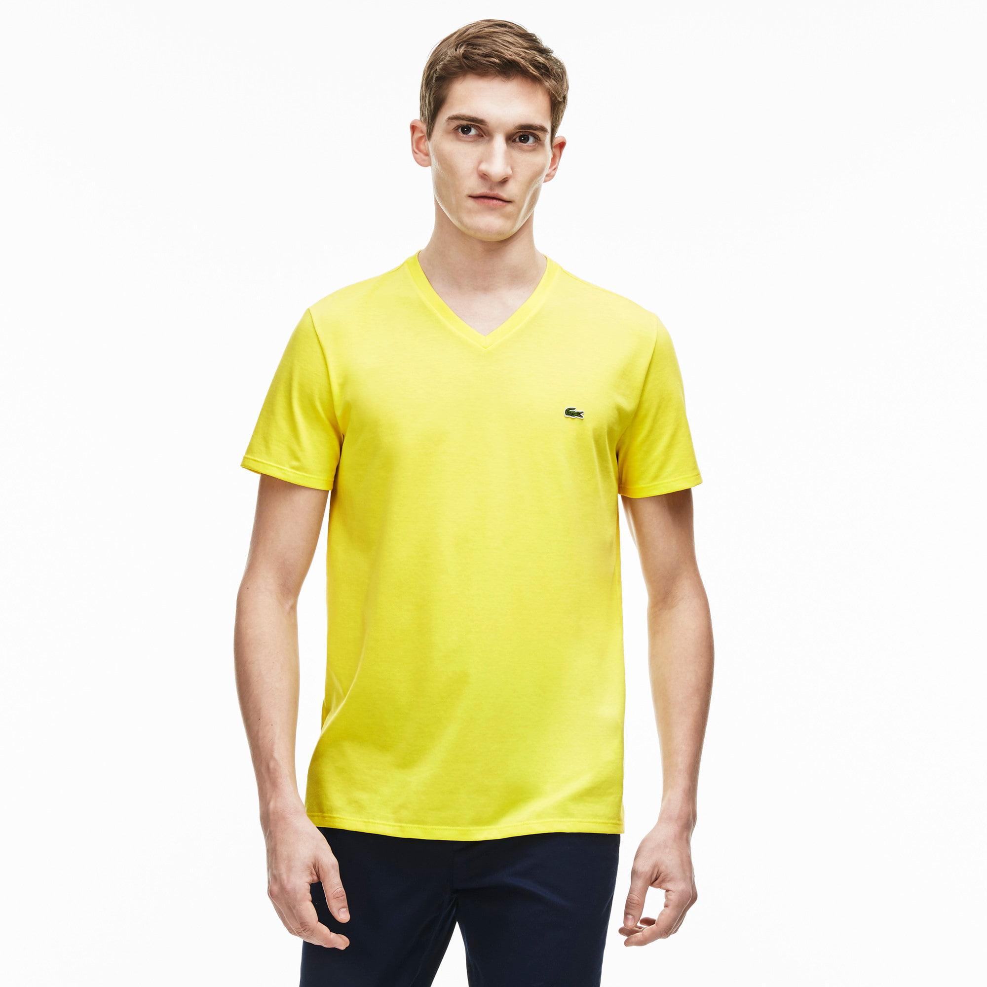 Lacoste Men's V-neck Pima Cotton Jersey T-shirt Daphne Yellow Medium