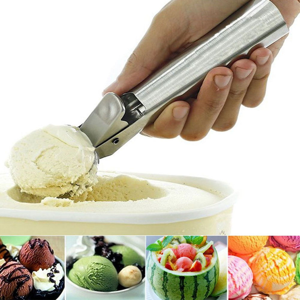 HiCoup Stainless Steel Ice Cream Scoop Mash Potato Frozen Yogurt Meat Balls Spoon