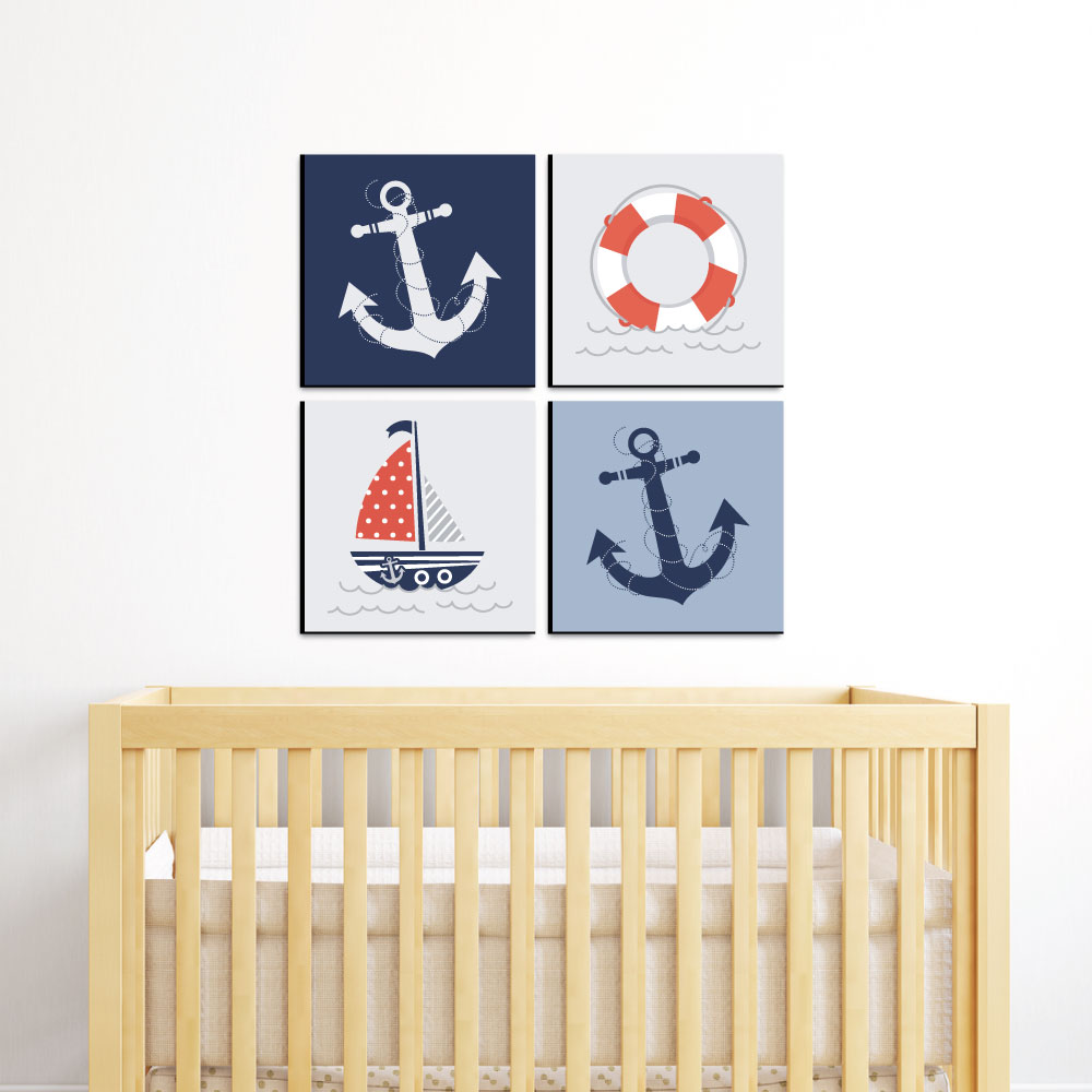 Boys Wall Art Nautical Blue Kids Room Nursery Bedroom Hanging Crib Home Decor