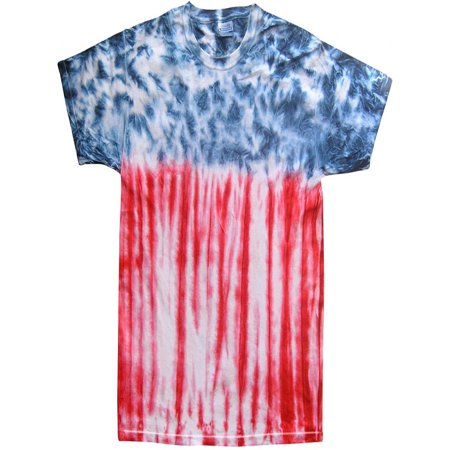 Mens Patriotic Flag Tie Dye Flag T-shirt, 3XL