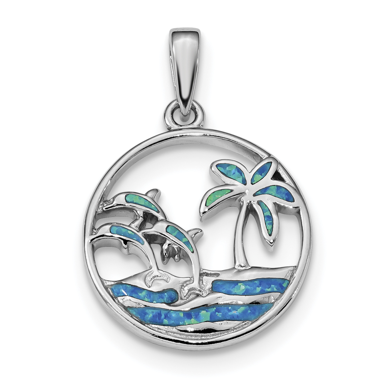 925 Sterling Silver Blue Created Opal Dolphins Pendant Charm Necklace Sea Life Dolphin Fine Jewelry Gifts For Women For Her - image 4 de 4
