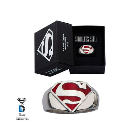 DC Comics Superman Logo Stainless Steel Ring](Superman Rings For Womens)
