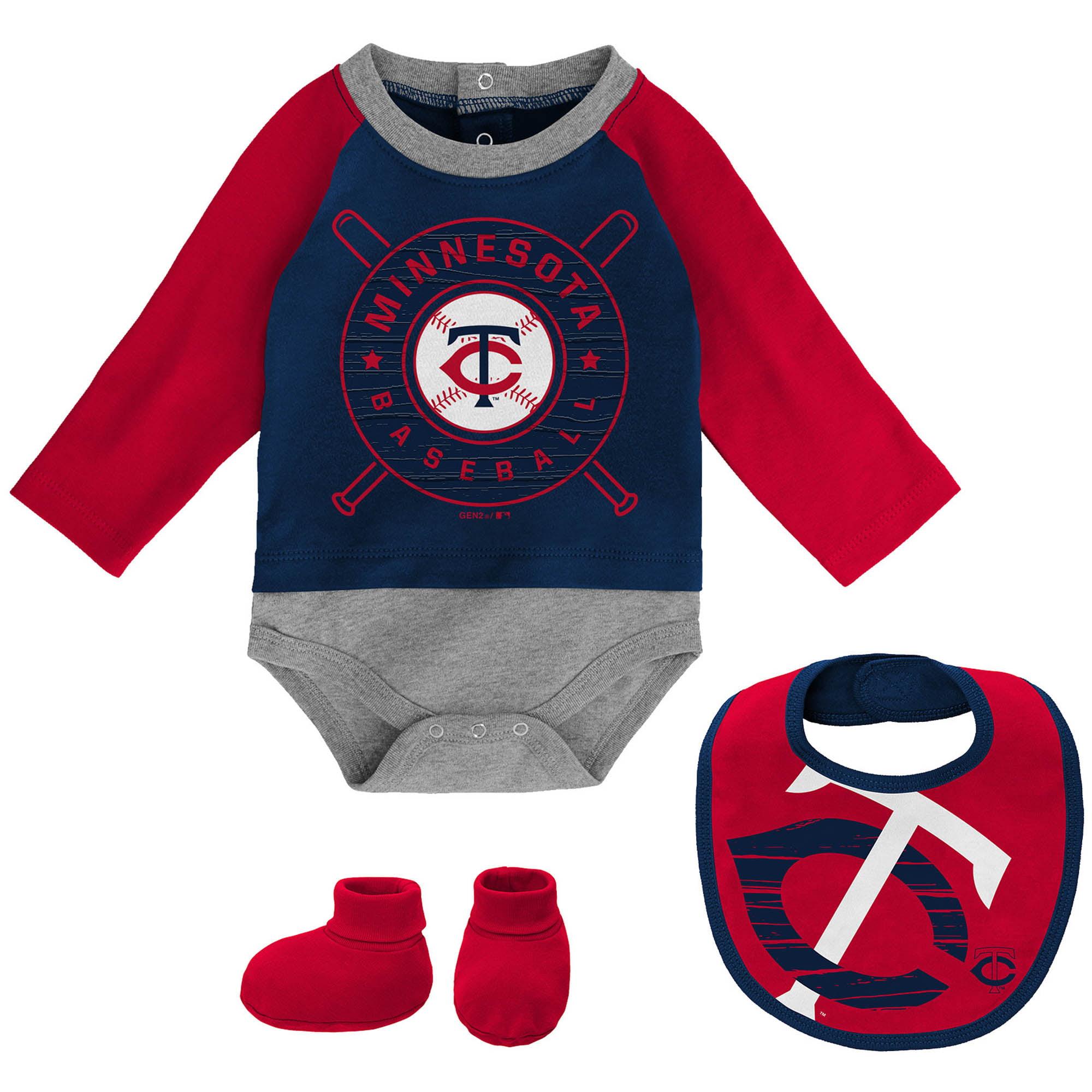 Minnesota Twins Newborn & Infant Dugout Dude Bodysuit, Bib & Booties Set - Navy/Red