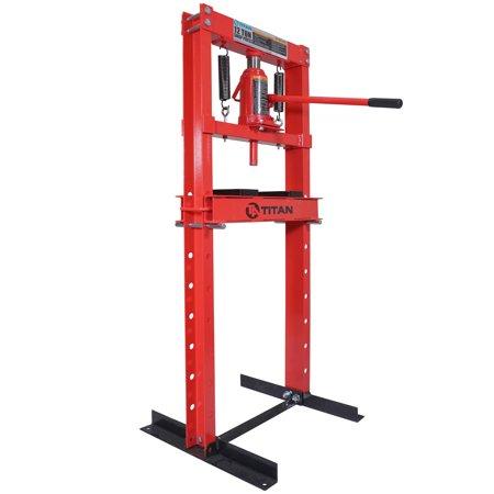 Titan 12 Ton Hydraulic Shop Floor Press H Frame 24000 lb Heavy Duty Steel Plates