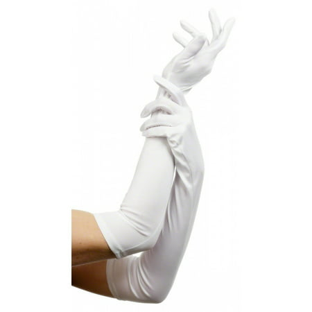 Long Gloves Adult Costume Accessory White (Superhero White Costume)