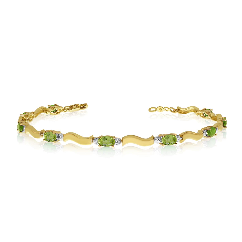 14K Yellow Gold Oval Peridot and Diamond Bracelet by