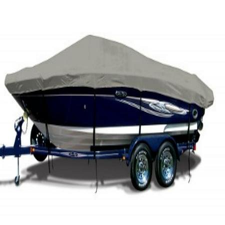 Cadet Grey Exact Fit Boat Cover Fitting 1999 2003 Xpress  Alumaweld  X 56 W Shield W Port Troll Mtr O B Models  9 25 Oz  Sunbrella Acrylic