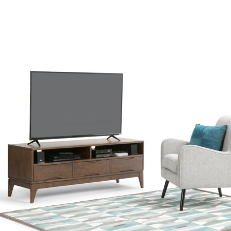 WyndenHall  Pearson Solid Hardwood 60 inch wide Mid Century Modern TV Media Stand in Walnut Brown For TVs up to 65 inches