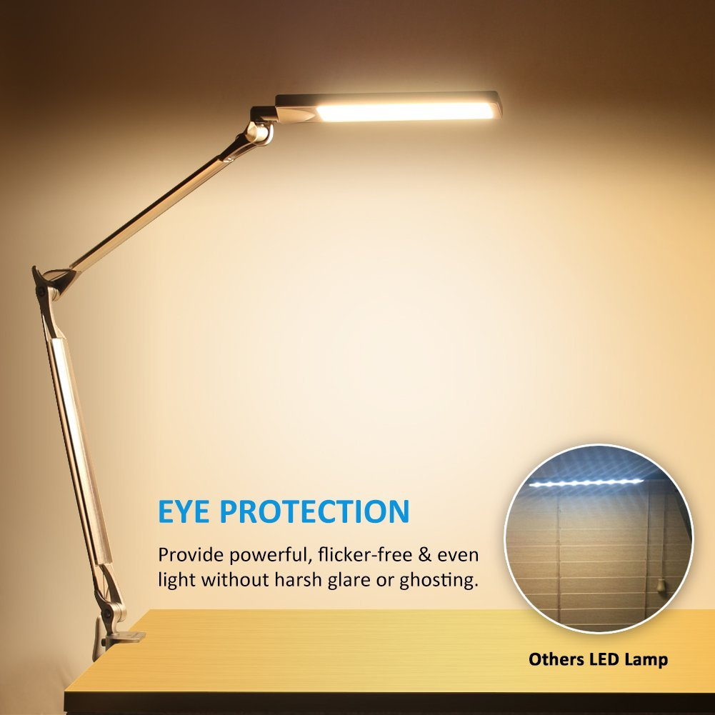 BYBLIGHT E430 Metal Architect Swing Arm Desk Lamp, 4 Lighting Modes, Silver    Walmart.com