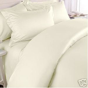 Elegance Linen ® Wrinkle-Free- 1500 Thread Count FULL/QUEEN Size Egyptian Quality 3pcs DUVET COVER SET, Solid, Ivory