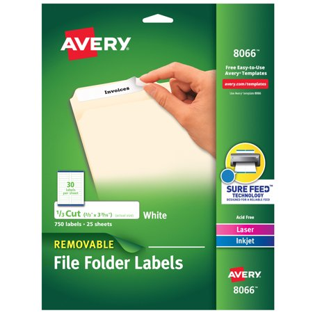 Avery Removable File Folder Labels, Sure Feed Technology, Removable Adhesive, White, 2/3