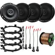 "4 x Kenwood 6.5"" 2-Way 320 Watts Peak Power Automotive Car Audio Speakers with 4 x Enrock Mounting Ring Adaptors, 4 x Speaker Harness, Speaker Wire (Bundle Fits Select GM Vehicles)"