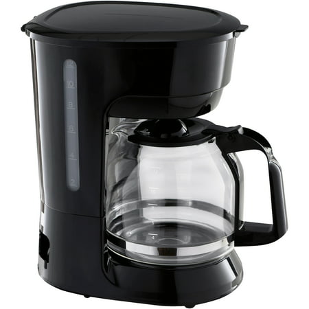 Mainstays Black 12-Cup Coffee Maker with Removable Filter Basket (One Cup Filter Coffee Maker)