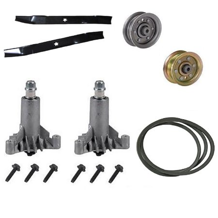(1) Deck Kit w/ Mulching Blade, Pulley, Drive Pulley, Spindle & Drive Belt for Mowers with 42