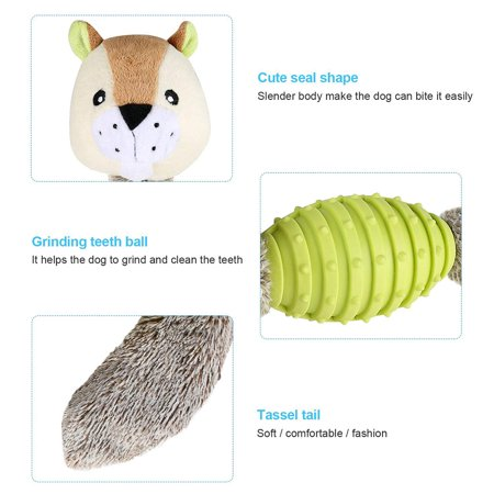 Doll, Dog Sound Production Plush Toy Training Puzzle Grinding Teeth Biting Resistant TPR Rubber Toy, Fluorescent Green