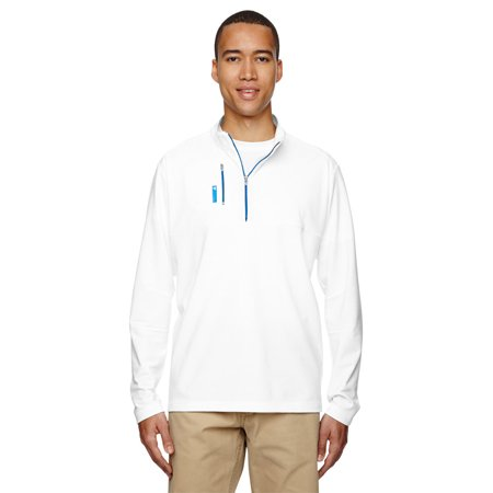 Adidas A195 Mens Quarter Zip Jacket -White/Brt Royal -Small