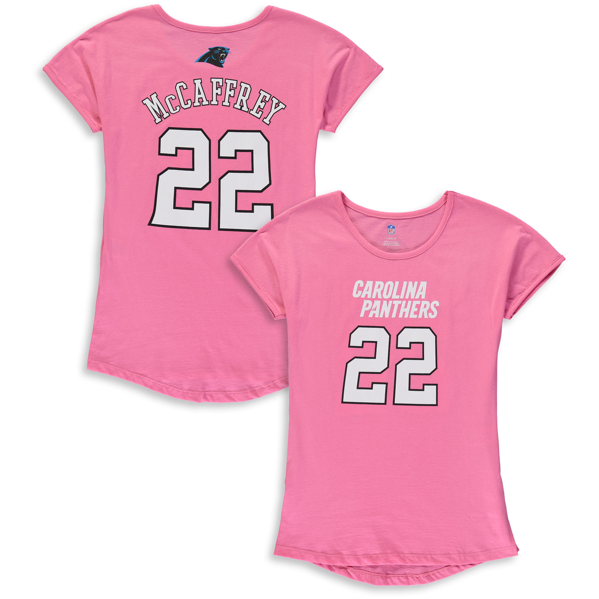 Christian McCaffrey Carolina Panthers Girls Youth Dolman Mainliner Name & Number T-Shirt - Pink